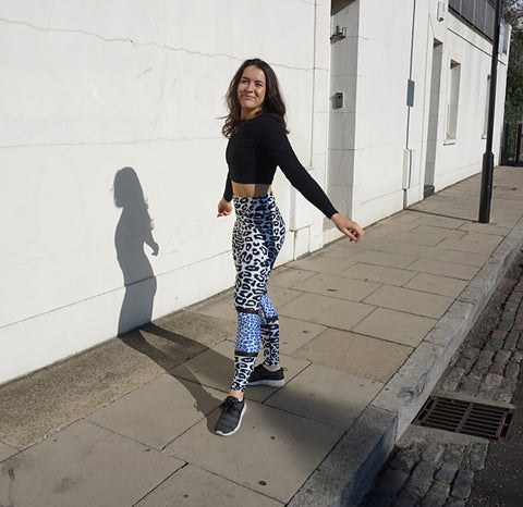 Molly Horne in Blue Leopard Leggings