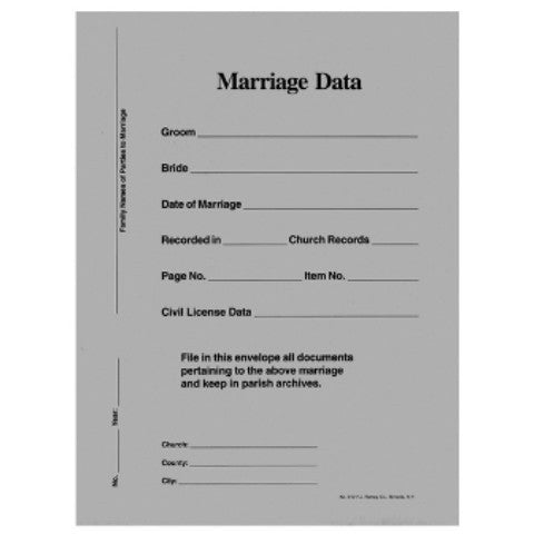 Marriage Data Envelopes