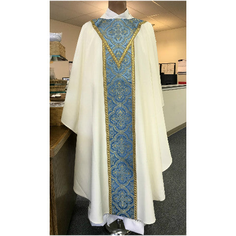 Cream Chasuble with Blue Venice Orphrey G65864A