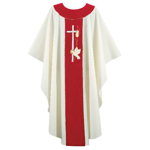 Cream and Red Chasuble G64154A