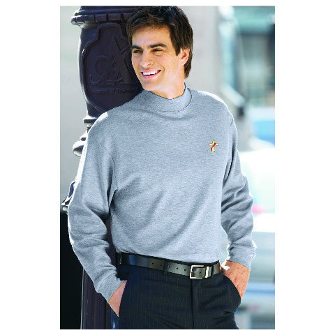 Egyptian Interlock Long-Sleeve Mock Turtleneck
