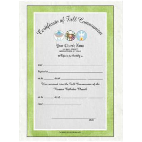 Full Color Full Communion Certificates
