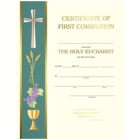 XC 103 First Communion Certificates