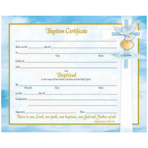 XR 500 Baptismal Certificates