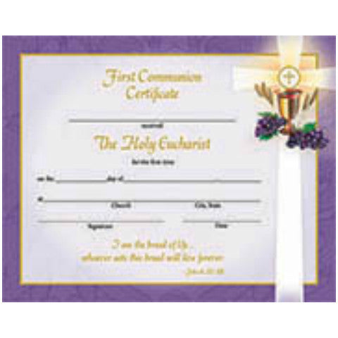 XR 501 First Communion Certificates