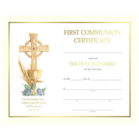 XS 103 First Communion Certificates