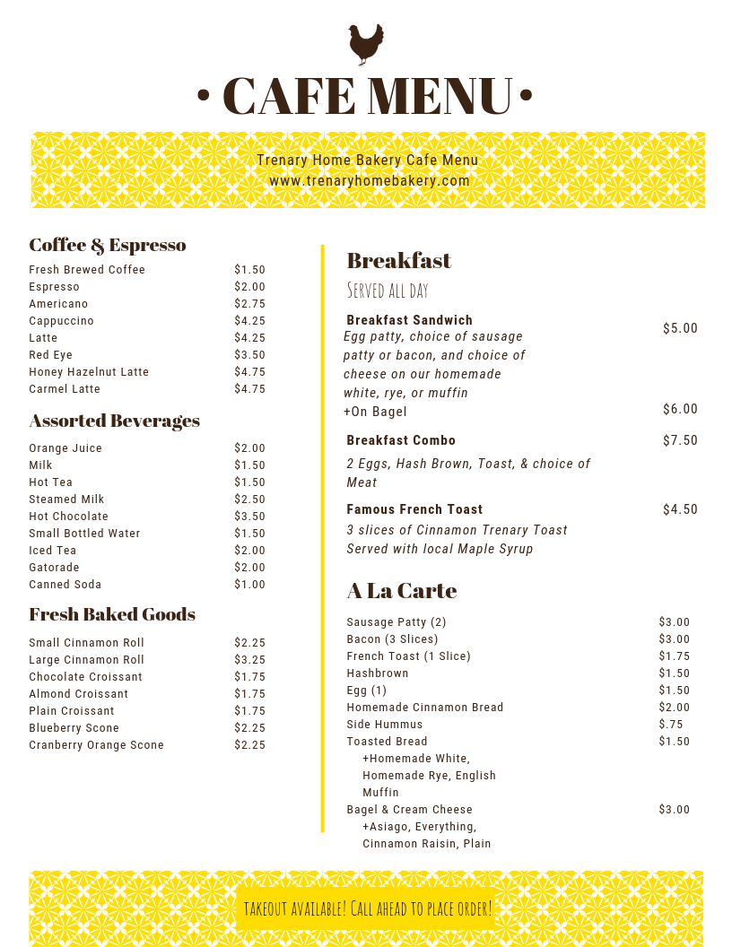 New Cafe Menu and Fall Hours!