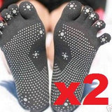 Pack of 2 Silicone Dots Non-slip Yoga Toe Socks - SISYAMA