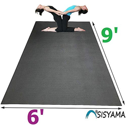 Sisyama Extra Large Workout Mat 9' x 6' x 5mm Group Partner Aerial Yoga Mat Dance Barefoot Training Living Room Home Gym Flooring Non-Toxic Non-Slip - SISYAMA