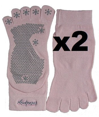 Pack of 2 Pairs Non-slip Traction Grip Yoga Toe Socks (Pink) - SISYAMA