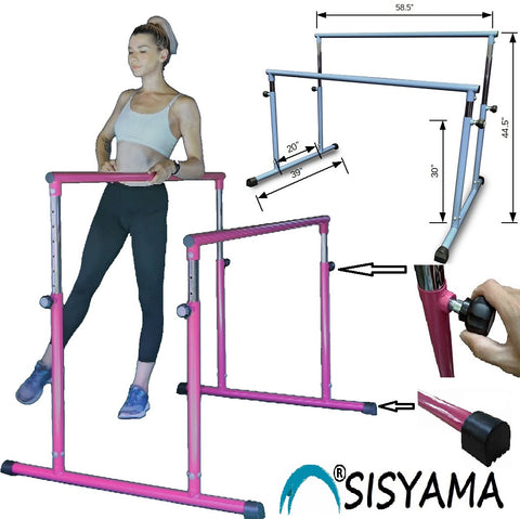 SISYAMA 43.5in/117in Ballet Barre Single/Double/Parallel Bar Portable Freestanding Adjustable Kid Adult Workout Fitness Stretch Dance - SISYAMA