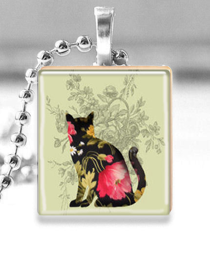 Scrabble Tile Pendant with Silver Ball Chain Necklace (Floral Cat)
