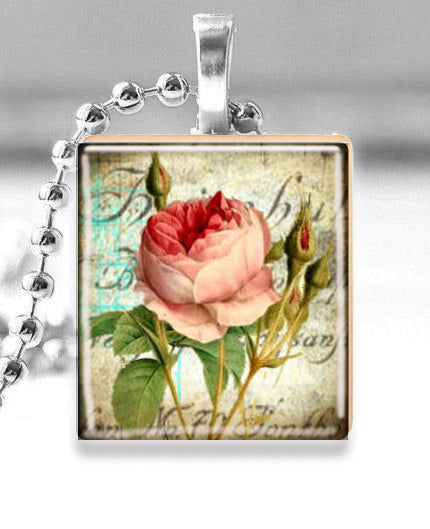 Scrabble Tile Pendant with Silver Ball Chain Necklace (Pink Rose)