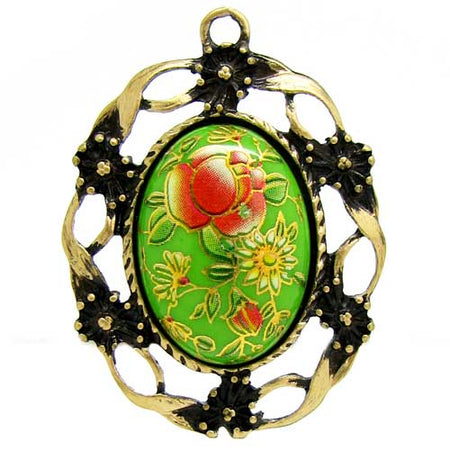 Antique Brass Cameo Cabochon Setting / Bronze Bezel