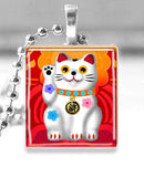 Scrabble Tile Pendant with Silver Ball Chain Necklace (Lucky Cat -- Red)