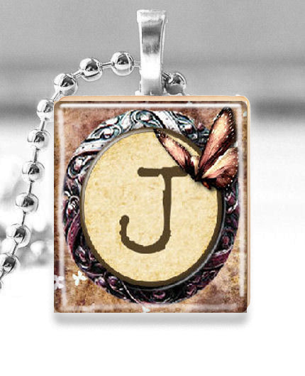 "Scrabble Tile Pendant with Silver Ball Chain Necklace (Initial -- Letter ""J"")"