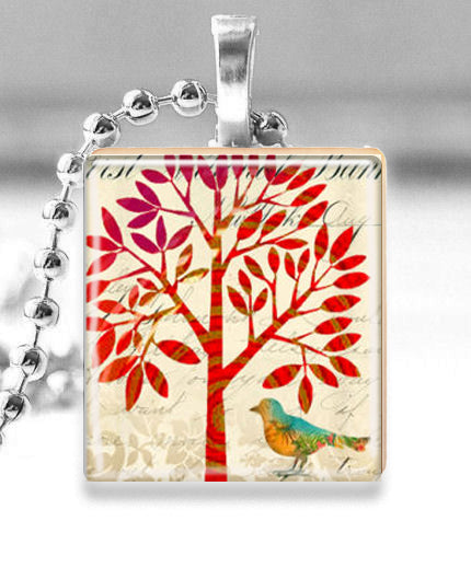 Scrabble Tile Pendant with Silver Ball Chain Necklace (Altered Art Red Tree with Bird)