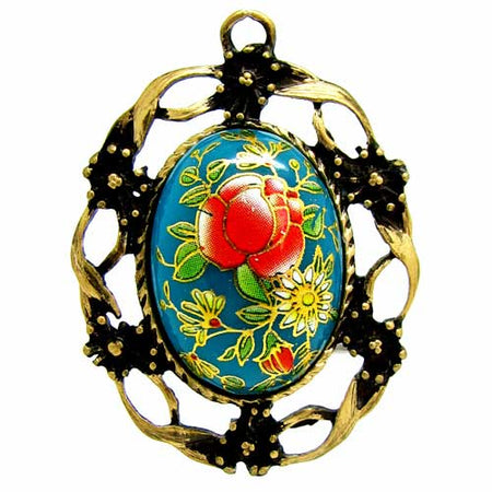 Blue Tensha Japanese Floral 25mm Cameo in an Antique Bronze Setting Highlighted with 18K Gold Leaf