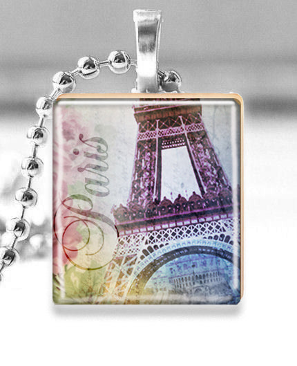 Scrabble Tile Pendant with Silver Ball Chain Necklace (Paris Eiffel Tower)