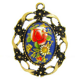 Blue Japan Tensha Floral Cameo in Bronze Setting at BaublesOfFun.com