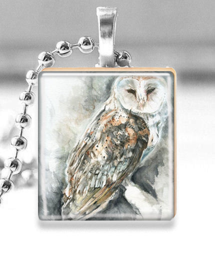 Scrabble Tile Pendant with Silver Ball Chain Necklace (Ghost Owl)