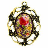 Purple Tensha Floral Cameo in Bronze Setting at BaublesOfFun.com