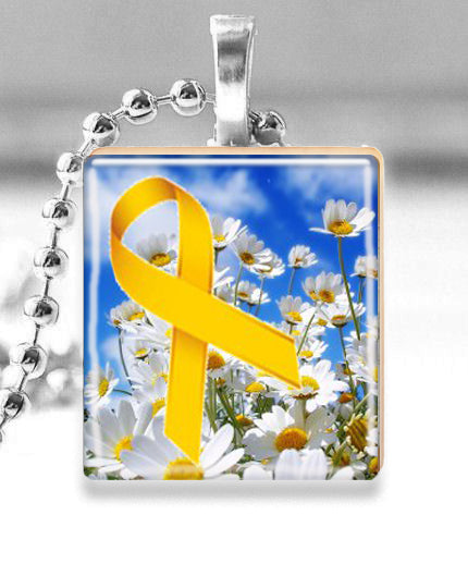 Scrabble Tile Pendant with Silver Ball Chain Necklace (Yellow Awareness Ribbon with Daisies -- Spina Bifida )