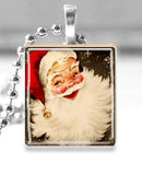 Scrabble Tile Pendant with Silver Ball Chain Necklace (Vintage Christmas Santa Claus)
