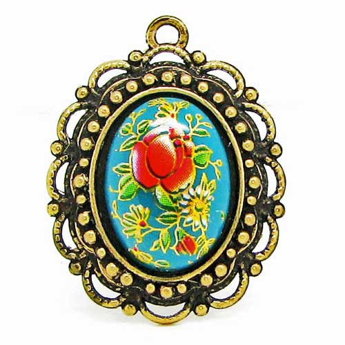 Turquoise Japanese Tensha Cameo in Bronze Setting at BaublesOfFun.com