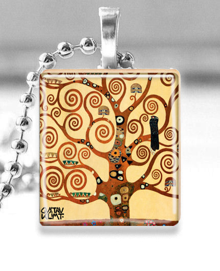 Scrabble Tile Pendant with Silver Ball Chain Necklace (Gustav Klimt Tree)