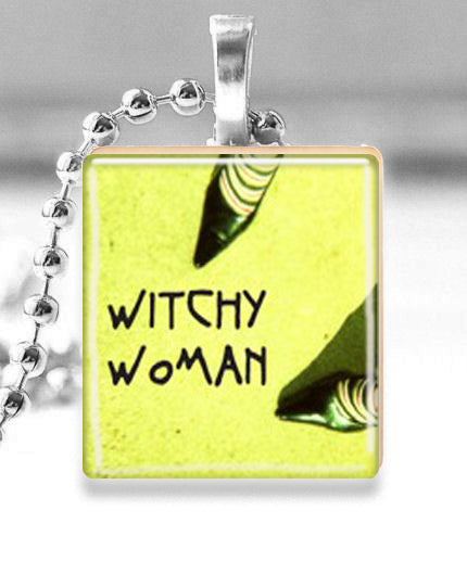 Scrabble Tile Pendant with Silver Ball Chain Necklace (Halloween Witchy Woman)