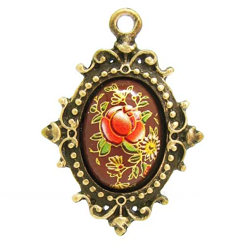 Brown Tensha Japanese Floral Cameo in an Antique Bronze Setting Highlighted with 18K Gold Leaf
