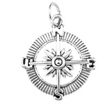 Antique Silver Navigational Compass Charm with Jump Ring