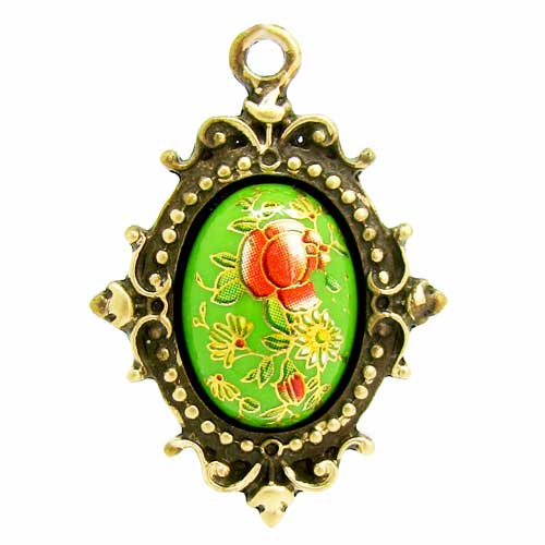 Apple Green Tensha Floral Cameo in Bronze Setting at BaublesOfFun.com