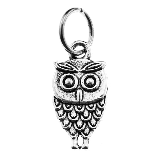 Antique Silver Double-Sided Wise Owl Charm with Jump Ring