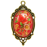 Red Tensha Japanese Floral Cameo in an Antique Gold Setting