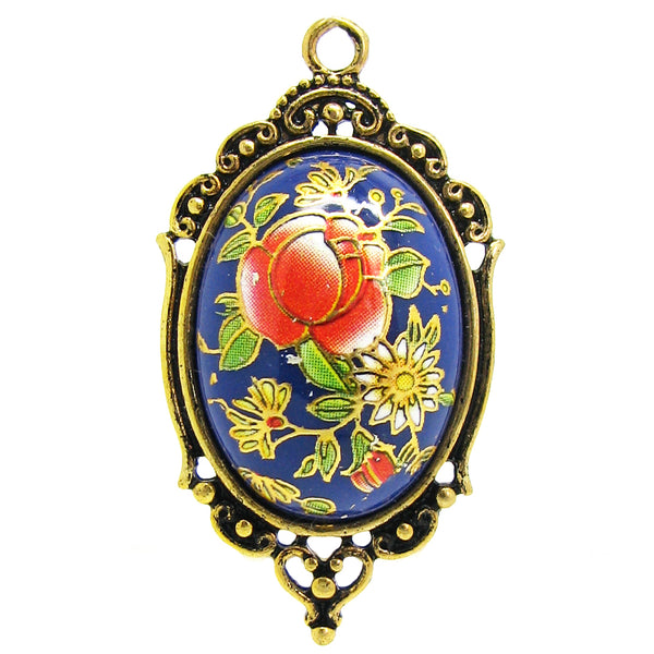 Blue Tensha Japanese Floral Cameo in an Antique Gold Setting