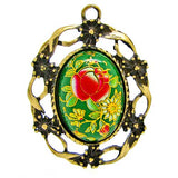 Green Japanese Tensha Floral Cameo in Bronze Setting at BaublesOfFun.com