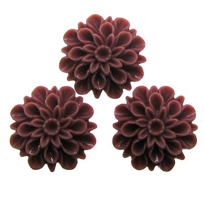 10 Pieces Dark Mauve Resin Dahlia Chrysanthemum Flower Cabochons - Bloomin Baubles