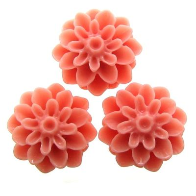 10 Pieces Salmon Resin Dahlia Chrysanthemum Flower Cabochons - Bloomin Baubles