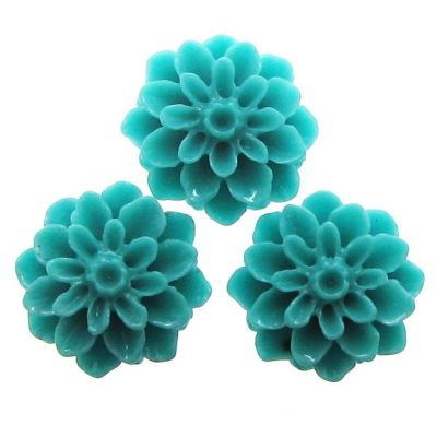 10 Pieces Turquoise Resin Dahlia Chrysanthemum Flower Cabochons - Bloomin Baubles