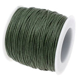 10 Yards (30 Feet) Dark Green 1Mm Waxed Cord - Wax