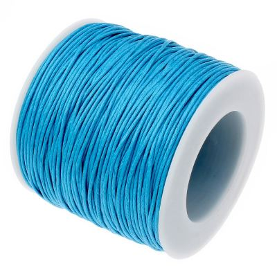 10 Yards (30 Feet) Deep Sky Blue 1Mm Waxed Cord String / Jewelry Making - Wax