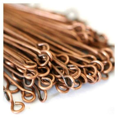 100 Antique Copper 30Mm X .7Mm Brass Eye Pins (21 Gauge) - Pins