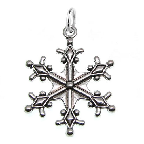 Antique Silver Large Snowflake Charm with Jump Ring