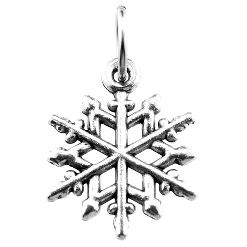 Antique Silver Snowflake Charm with Jump Ring