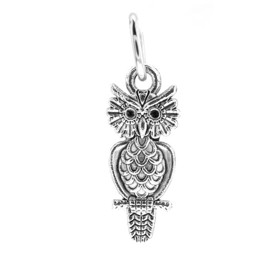 Antique Silver Owl Charm with Jump Ring