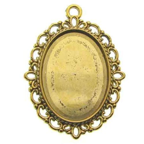 Antique Golden Oval Cabochon Setting / Bezel at BaublesOfFun.com