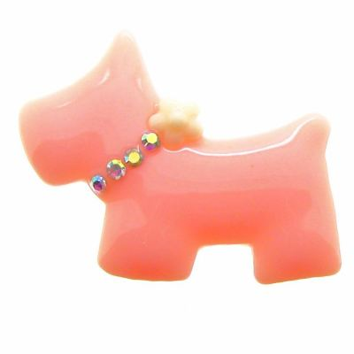 2 Peach & Ivory Bling Scottie Dog Resin Cabochons - Bloomin Baubles