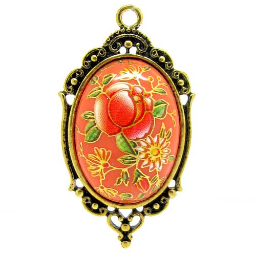 Orange Japanese Tensha Floral Cameo in Golden Setting at BaublesOfFun.com
